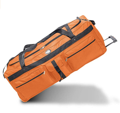 Large orange duffel with wheel by pack for camp
