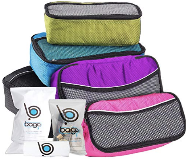 multi-colored packing cubes for to help with packing organization