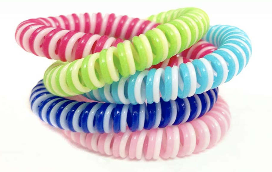 Natural Mosquito Repellant Wrist and Ankle Bands in pink, green, aqua blue, midnight blue and pink.