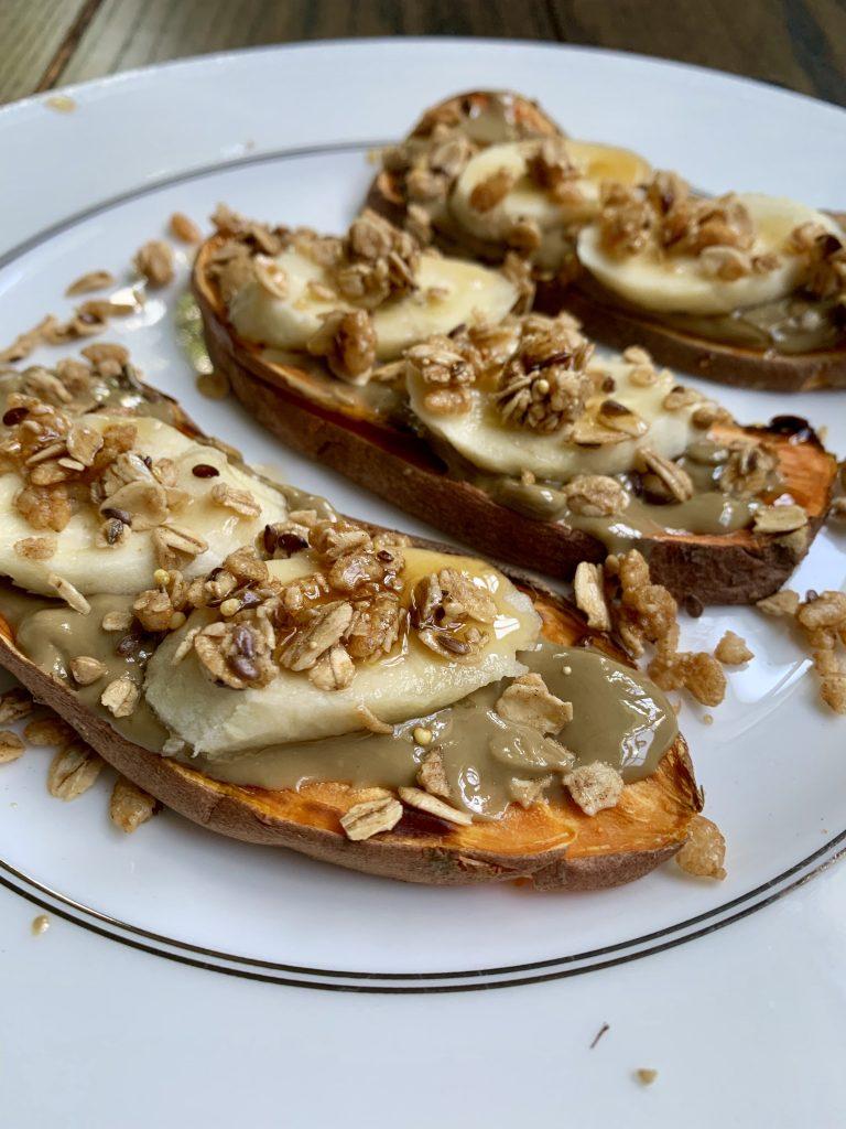 Sweet potato toast with sunbutter, banana and granola