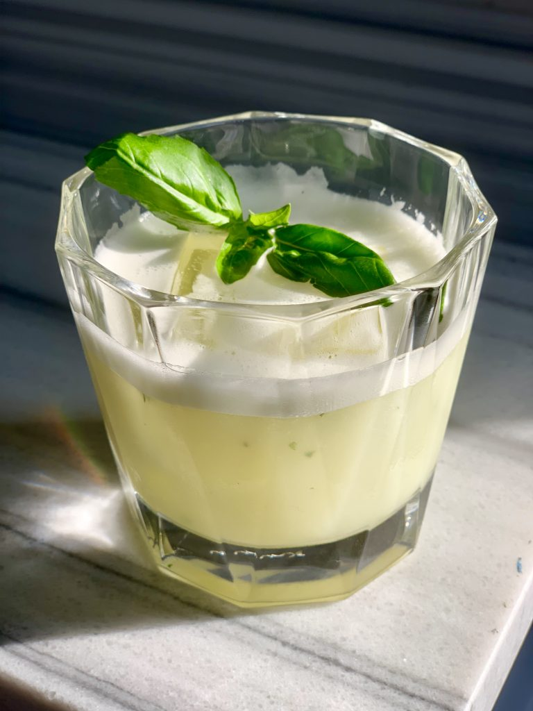 tequila, lemon, fresh basil and egg white cocktail