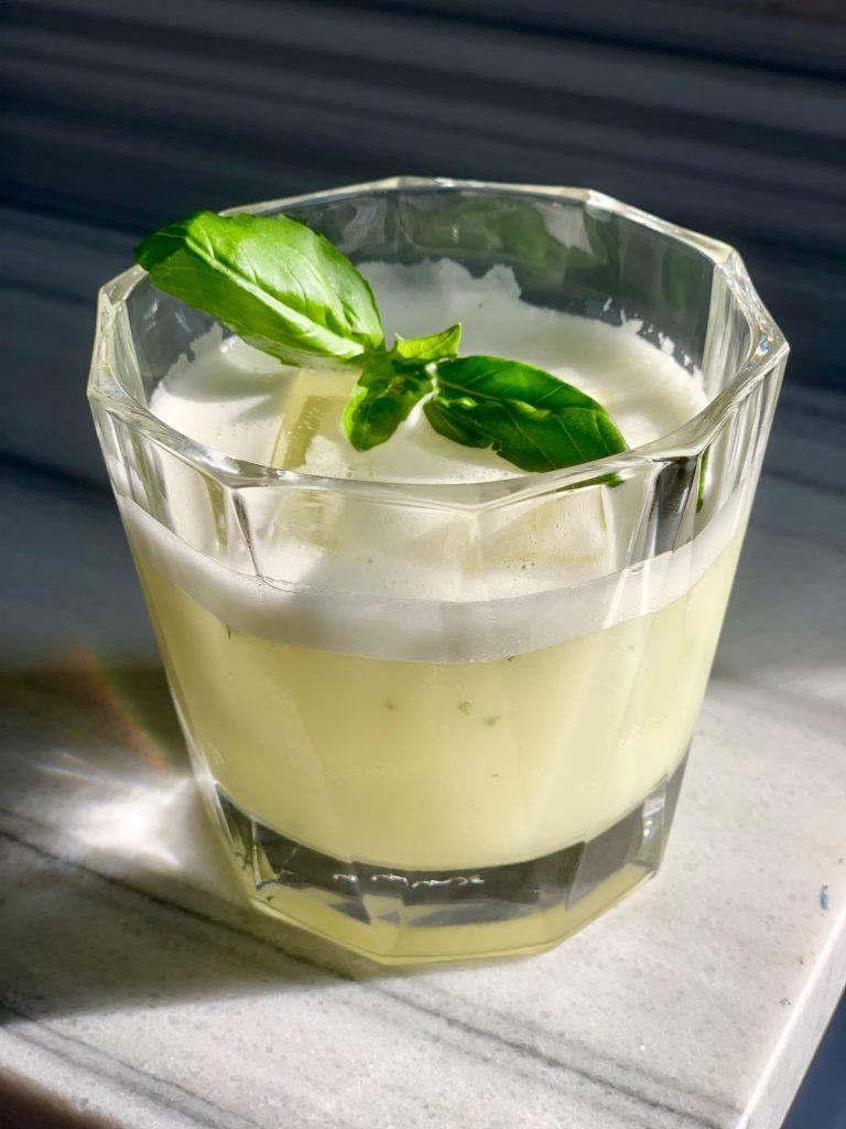 tequila, lemon, fresh basil and egg white cocktail