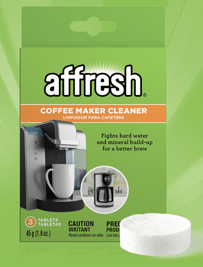 Affresh coffee maker cleaner package showing the tablet used