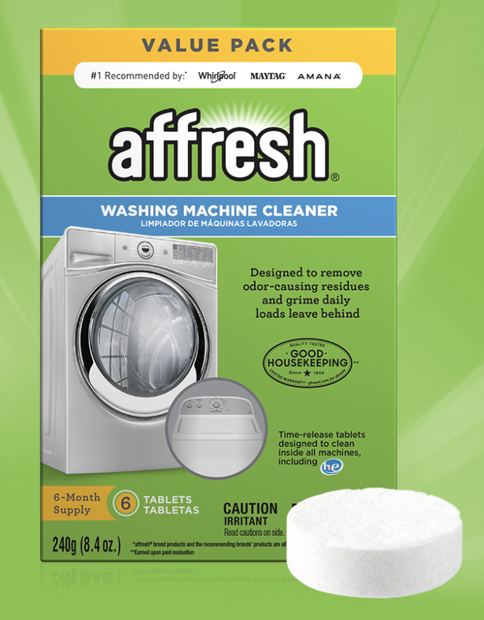 Affresh washing machine cleaner showing the packaging and the tablet