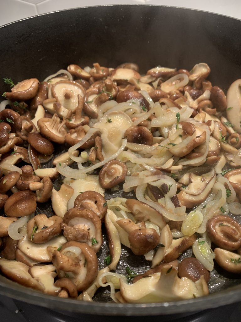 Sauteed shallots and mushrooms