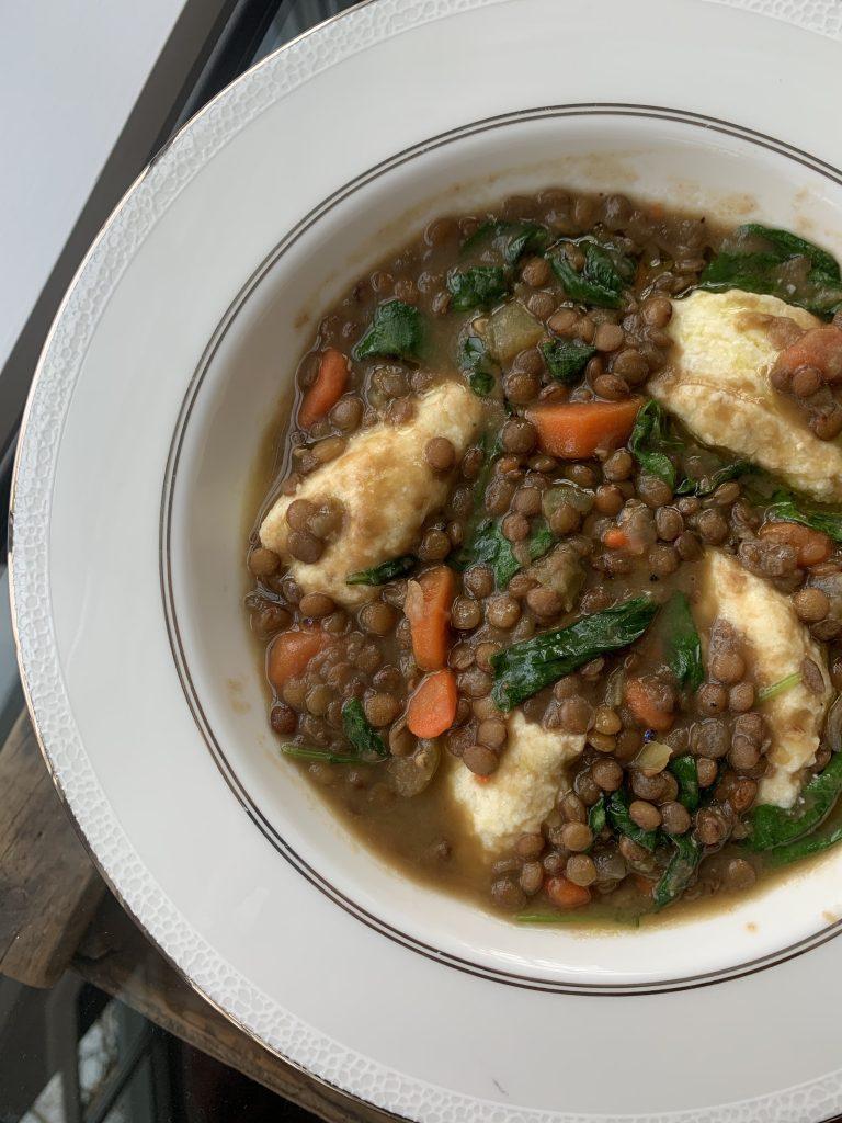 Lentil soup with ricotta dumplings