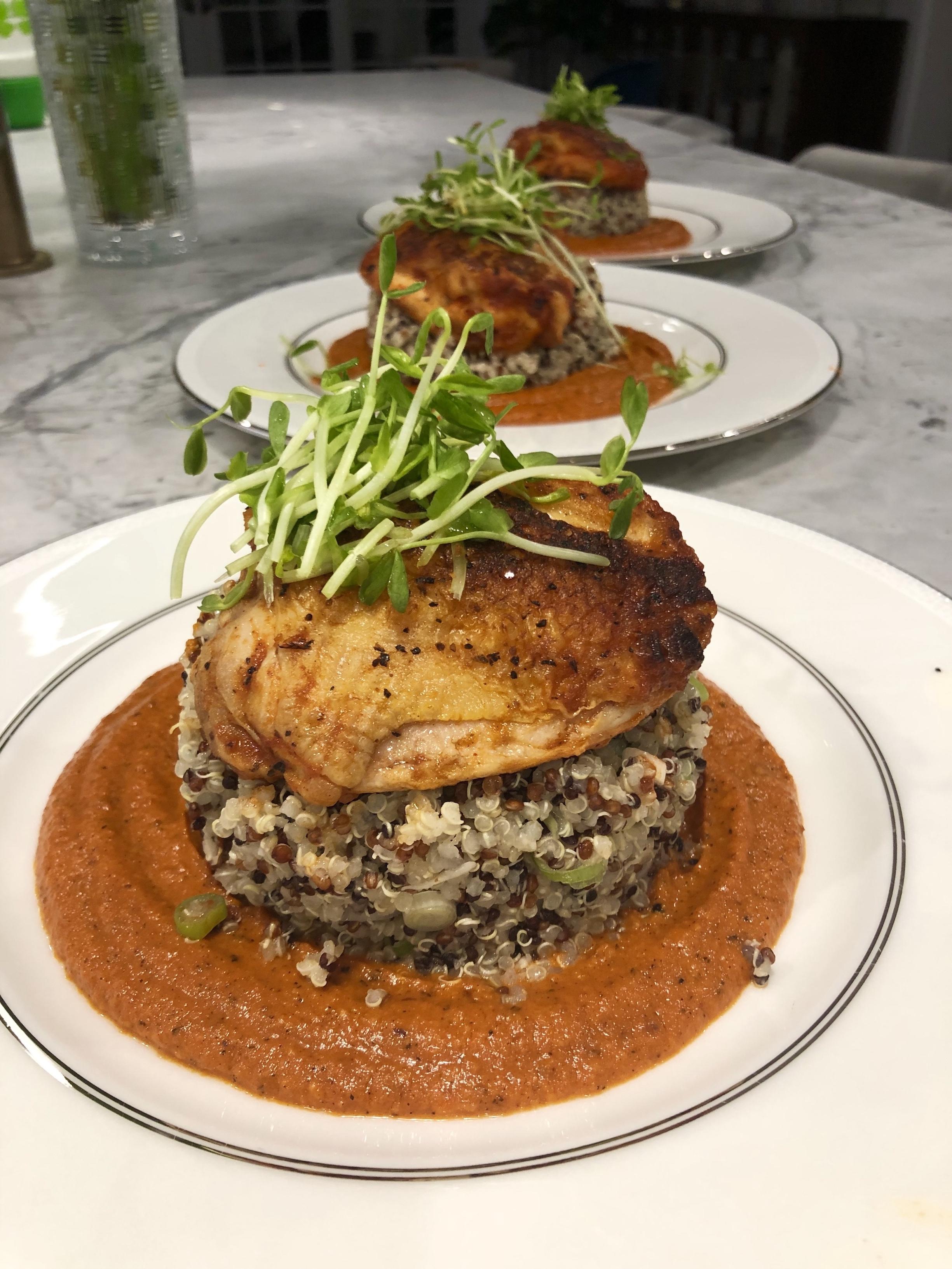 Chicken Romesco with Quinoa and Scallions
