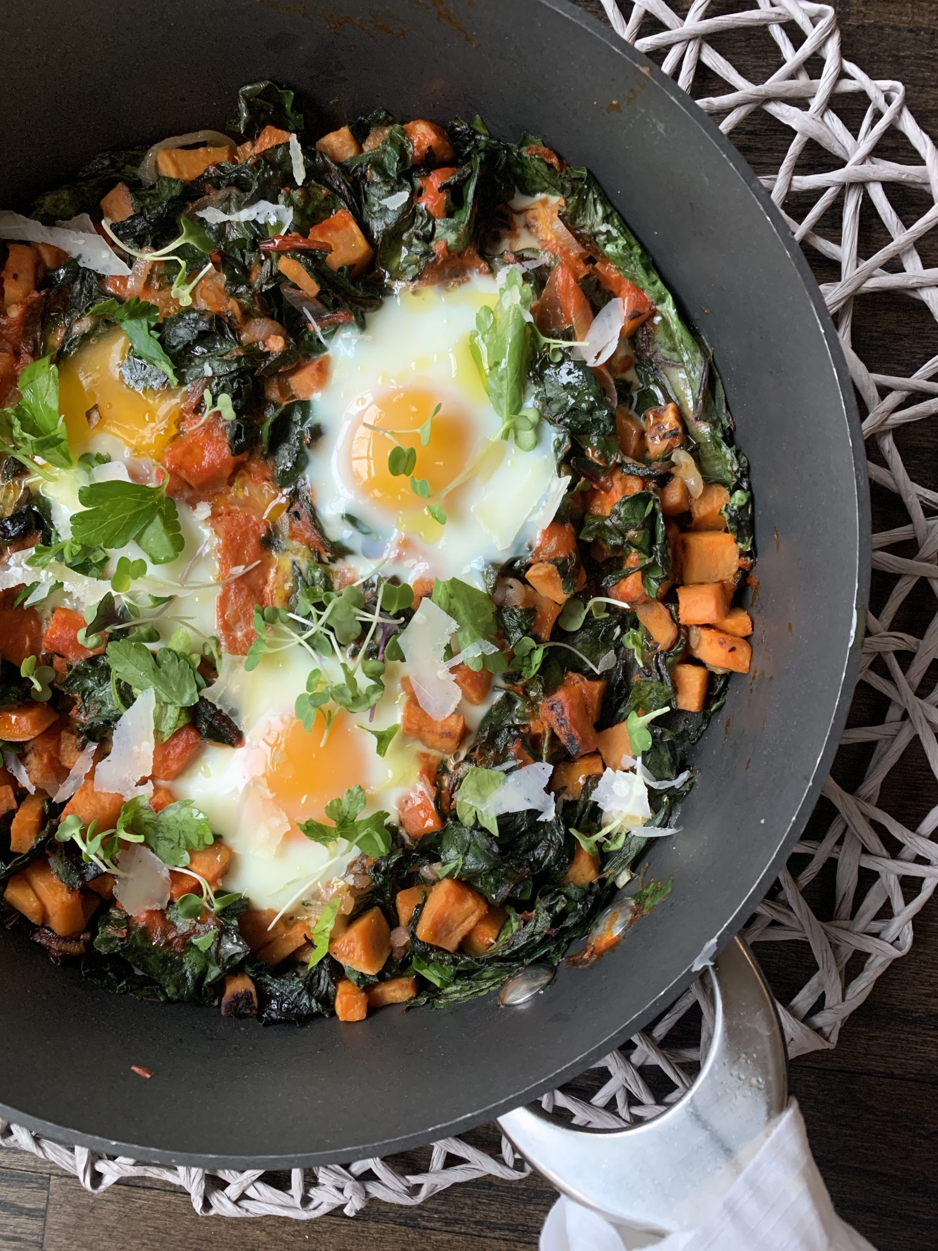 Egg Skillet with Roasted Pepper, Sweet Potato & Chard