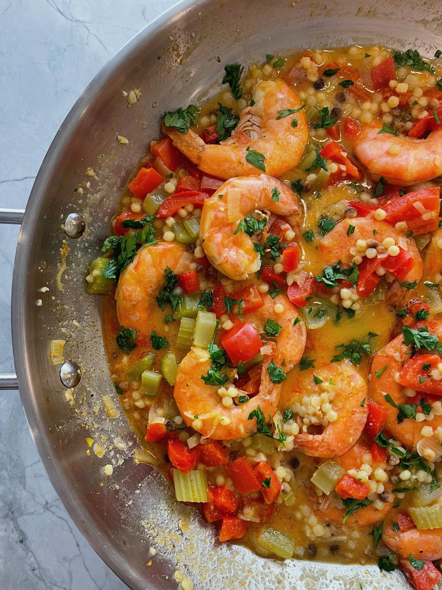 One-Pan Shrimp Dinner with Fregula